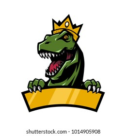 T Rex Head mascot logo illustration with crown