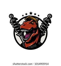 T Rex Head mascot rider logo illustration