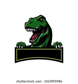 T Rex Head mascot sports logo illustration with hand