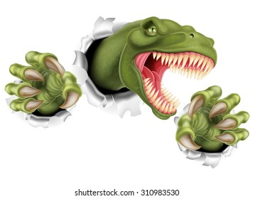 A T Rex Tyrannosaurus Rex dinosaur scratching, ripping and tearing through the background with its claws