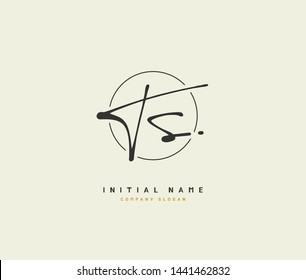 T S TS handwriting logo of initial signature, wedding, fashion, jewerly, boutique, floral and botanical with creative template for any company or business.