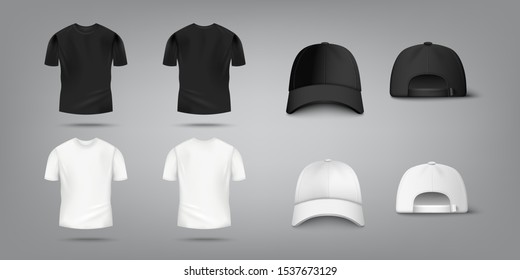 T shirt and baseball cap mockup set in black and white color from front and back view - realistic design template collection for fashion apparel, vector illustration