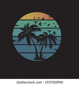 t shirt  Coconut Tree  Vector Art