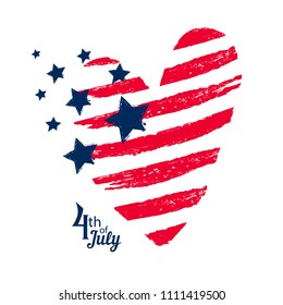T shirt design with big heart and stars drawing in American style. USA independence day poster. Grunge textured heart.