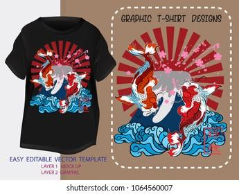 T shirt design Japanese style.japan Koi Fish with Red Sun,pink sakura,blues water,Fuji mountain background.Mock up Black t shirt and Graphic printing.vector.illustration.Japanese Translation: Koi Fish