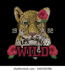 T shirt design Leopard head rose flower. Front view embroidery patch sticker. wild animal stitch texture textile print. Jungle logo vector illustration art