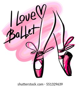 T shirt design. Modern fashion style on white background with heart, original text I love ballet. Sketch silhouette hand drawn pointes shoes, bow in pink colors.
