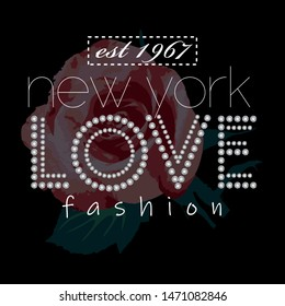 T shirt Design new york love fashion slogan, Rhinestone Applique Print for Textile, Crystal Embellishment for Fashion Apparel, Jewelry Ornament for Hotfix Transfer
