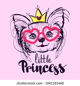 t shirt design with puppy pet line drawing. little princess illustration. animal wallpaper. pretty girl dog Yorkshire terrier with crown, heart, sunglasses.