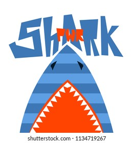 t shirt design Shark power. Catoon style. underwater poster. Raptory mouth with fangs tooth.
