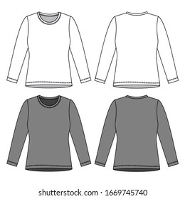 T SHIRT fashion flat sketch template