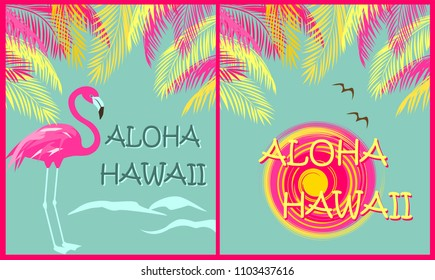 T shirt fashion prints variation wit Aloha Hawaii lettering, palm leaves, sun, seagull and pink flamingo. Flat design