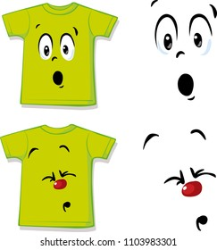 T shirt with funny face expression - vector illustration design