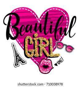 T shirt girlish design with big pink heart, calligraphic hand written text Beautiful Girl, gold glitter, eiffel tower, glasses, lash, kiss lips. Fashion illustration