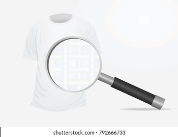 T shirt and magnifying glass. fiber structure. vector illustration