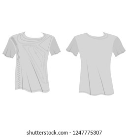 T shirt man template (front, back views), vector illustration isolated on  background