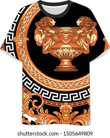 t shirt mold versace style fashion baroque in cup king lion pattern