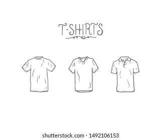 T shirt outline simple cartoon fashion vector silhouette illustration. Different clothing shirts with letter text tittle. Top male fashion basic clothes front position sketch drawing.