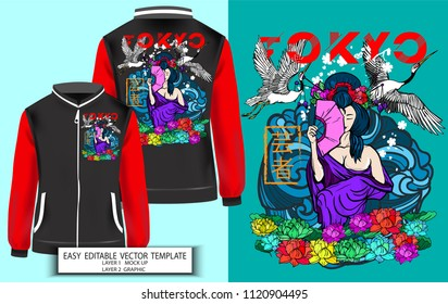 T shirt print design or Jacket Japanese style.Geisha with Lotus and Sakura background. Mock up T shirt,Jacket and Graphic printing. Vector illustration. Japanese Translation: Geisha