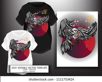 T shirt print design Japanese style black Eagle with red Fuji Sun and Sakura background. Mock up Black and white T shirt and Graphic printing vector illustration. Japanese Translation: Eagle