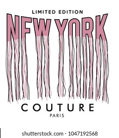t shirt print design with new york writing, paris couture, embroidery style, vector, slogan