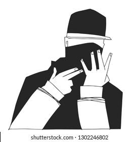T shirt print design of young hooded gang member