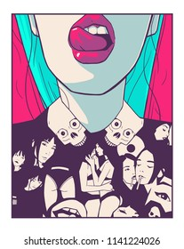 T Shirt printing design illustration of attractive girl in comic book style drawing
