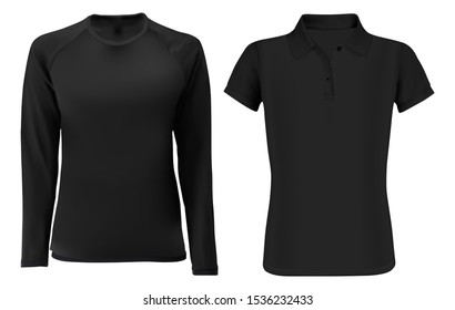 T shirt template mock up. Black vector blank front view. Short and long sleevve fashion sweatshirt unisex. Sports clothes. Uniform undershirt for men and women. Editable design