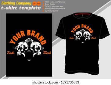 t shirt template with two skull,hand drawing vector