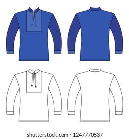 T Slavic shirt vyshivanka man template (front, back views), vector illustration isolated on background