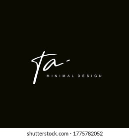 T A TA Initial handwriting or handwritten logo for identity. Logo with hand drawn style.