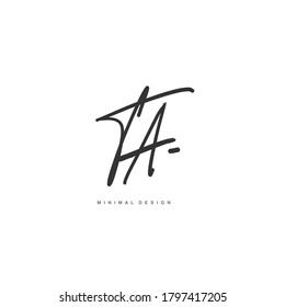 T A TA Initial handwriting or handwritten logo for identity. Logo with signature and hand drawn style.