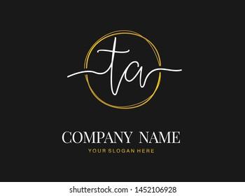 T A TA Initial handwriting logo design with circle. Beautyful design handwritten logo for fashion, team, wedding, luxury logo.