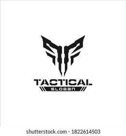T tactical skull logo concept