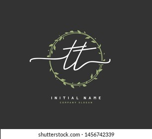 T TT Beauty vector initial logo, handwriting logo of initial signature, wedding, fashion, jewerly, boutique, floral and botanical with creative template for any company or business.