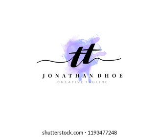 T TT  Initial watercolor logo on white background. Logo template vector