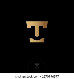 T and U in gold letters. T, U Monogram illusory. Web, user interface icon.