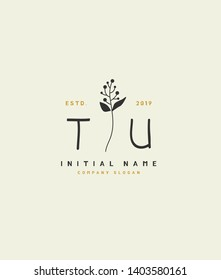 T U TU Beauty vector initial logo of floral and botanical with creative template for any company or business.