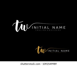 T W Initial handwriting logo vector. Hand lettering for designs.