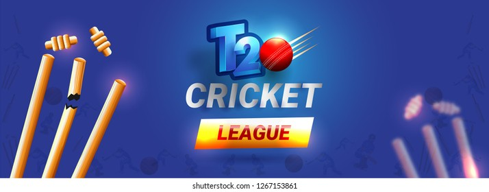 T20 Cricket League header or banner design, vector illustration of broken wicket stumps on glossy blue background.