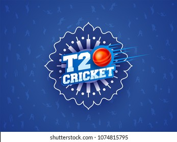 T20 Cricket text on blue abstract background.