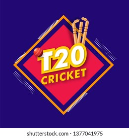 T20 Cricket tournament poster or template design with wicket stump and cricket ball illustration on abstract background.