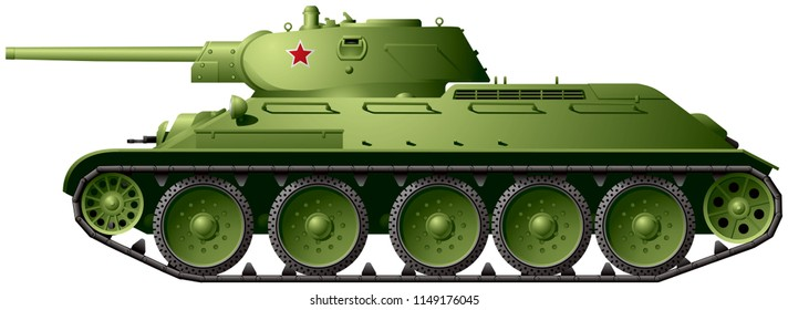T-34 76 WWII Battle Tank model 1941 with 76.2 mm (3 in) high-velocity tank gun, T34/76 Soviet World War II Red Army medium tank, weapon realistic vector illustration