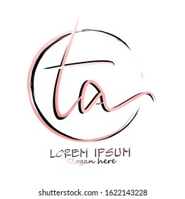Ta Beauty vector initial logo, handwriting logo of initial signature, wedding, fashion, jewelry, boutique,  floral and botanical with creative template for any company or business.