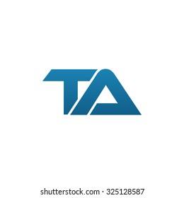 TA company linked letter logo blue