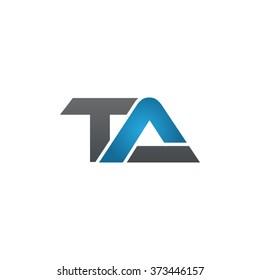 TA company linked letter logo black blue