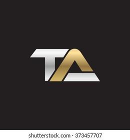 TA company linked letter logo gold silver black background