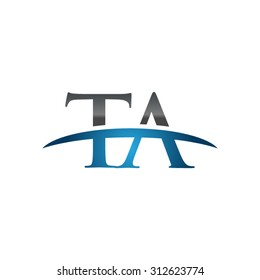 TA initial company blue swoosh logo
