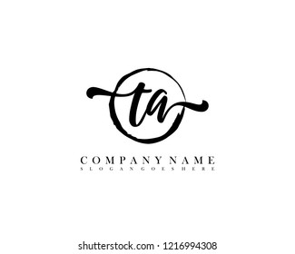 TA initial handwriting logo circle template vector