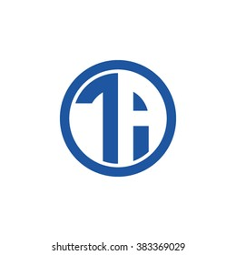 TA initial letters circle business logo blue